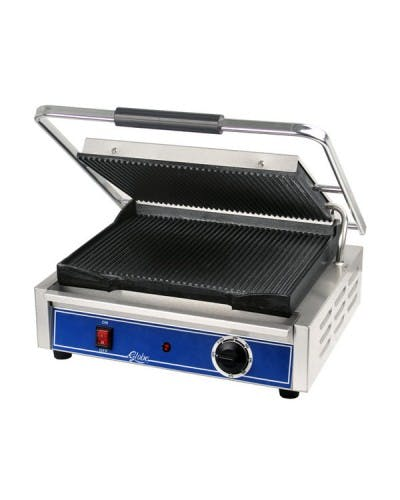 "GLOBE GPG1410 CHEFMATE PANINI GRILL 14"" X 10"" WITH CAST IRON GROOVED PLATES Sandwich press sold by NJ Restaurant Equipment"
