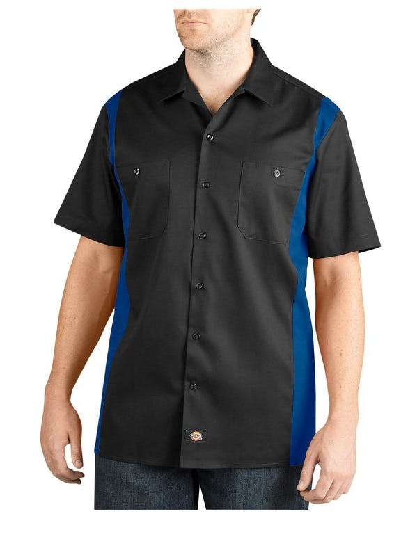 Two-Tone Short Sleeve Work Shirt Promotional apparel sold by Kevins Worldwide