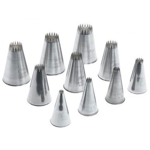 Set of 10 Stainless Open Star Pastry Tips