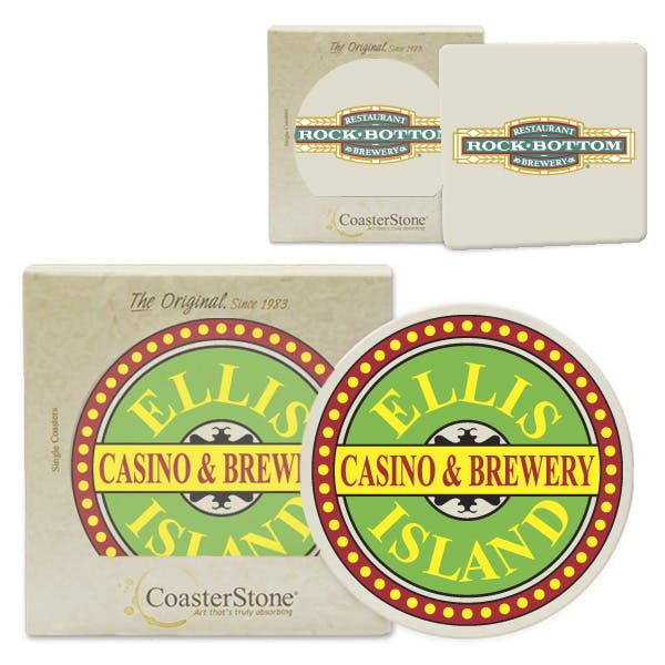 Absorbent Stone Coasters - Set of 2 Drink coaster sold by MicrobrewMarketing.com