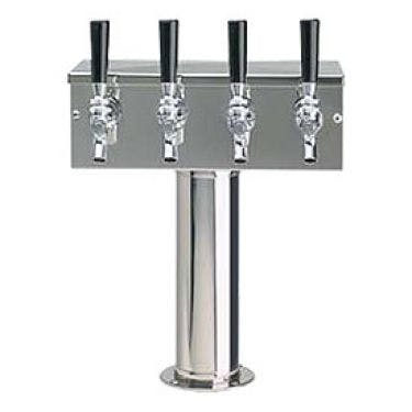 Glycol Cooled Stainless Steel Four Faucet T Style Draft Tower - 3 Inch Column Draft beer tower sold by Beverage Factory