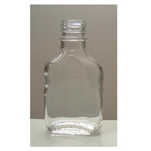 3.4 oz (100 mL) Clear Glass Flask Bottles (Optional Tamper Evident Cap) Liquor bottle sold by Freund Container & Supply