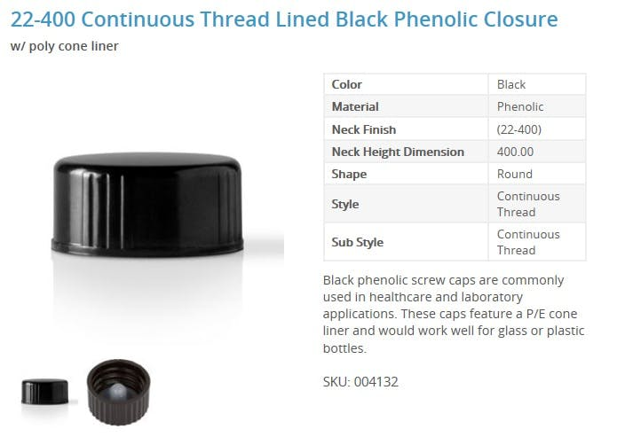 22-400 Continuous Thread Lined Black Phenolic Closure Glass bottle sold by Packaging Options Direct