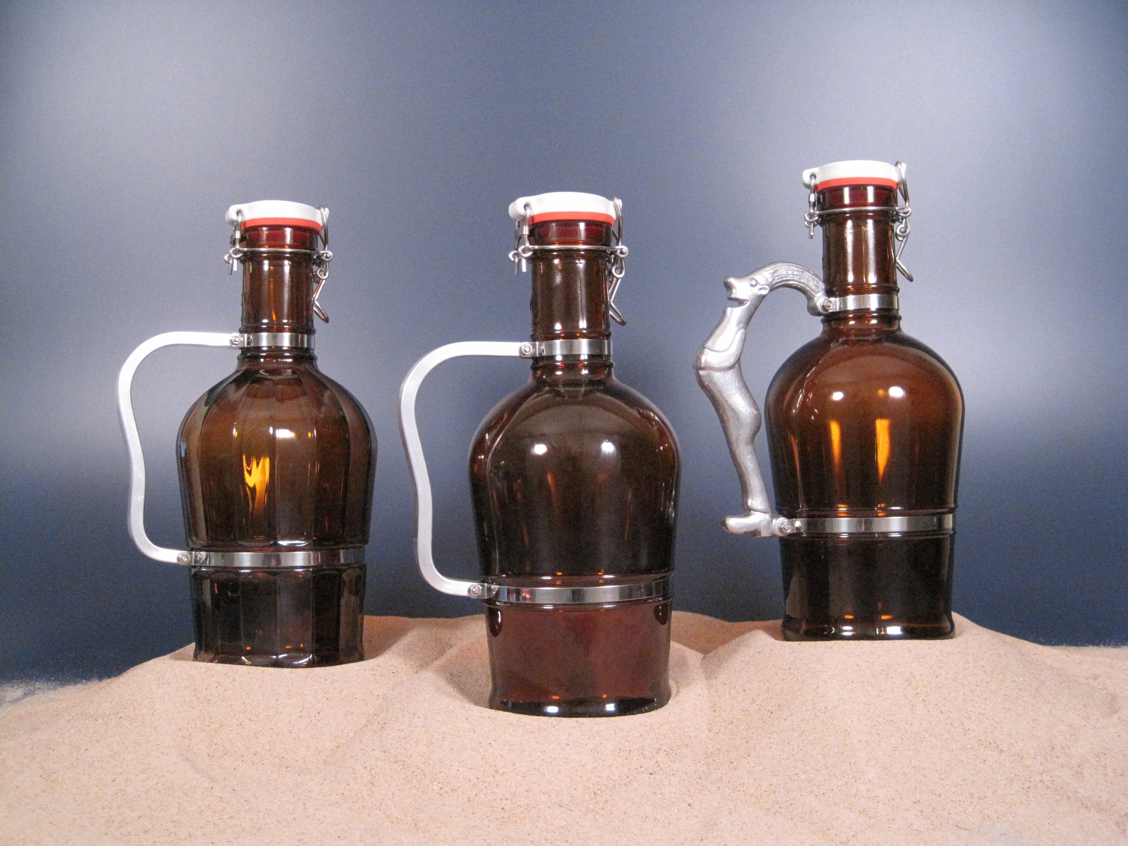 Metal Handled Growlers Growler sold by Land & Sea Packaging
