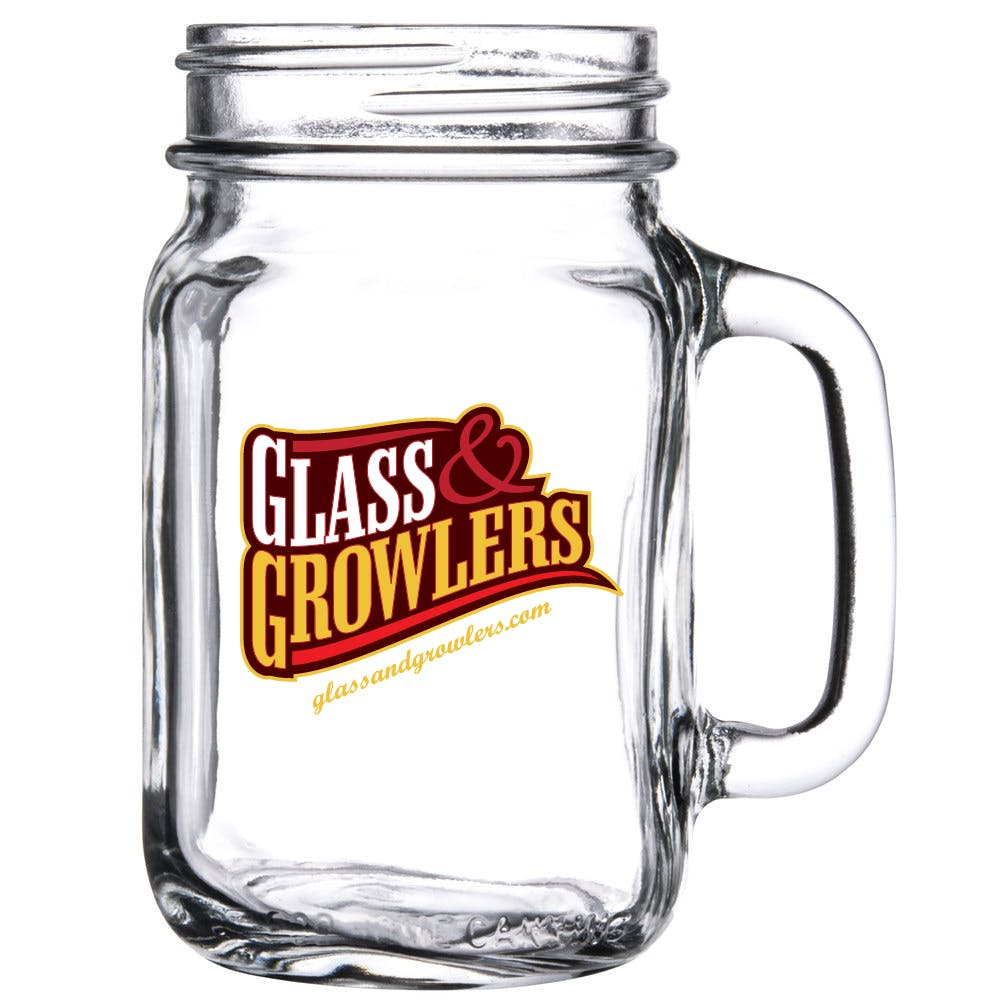 Mason Jar with Handle 16 oz Customized Beer Mug sold by Glass and Growlers