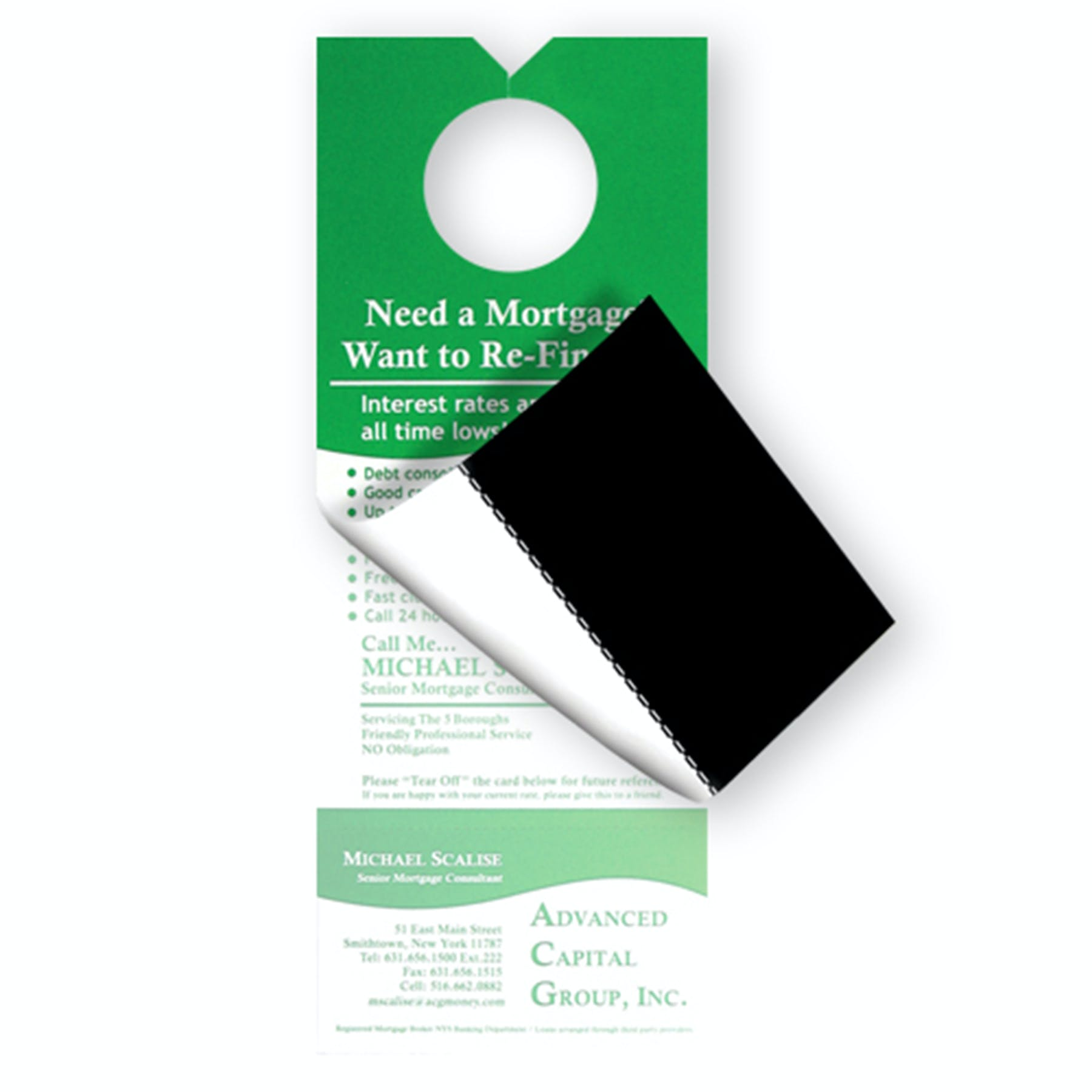 Custom Door Hanger with Business Card Magnet (Item # AELPQ-DDRVV) Promotional Paper Product sold by InkEasy