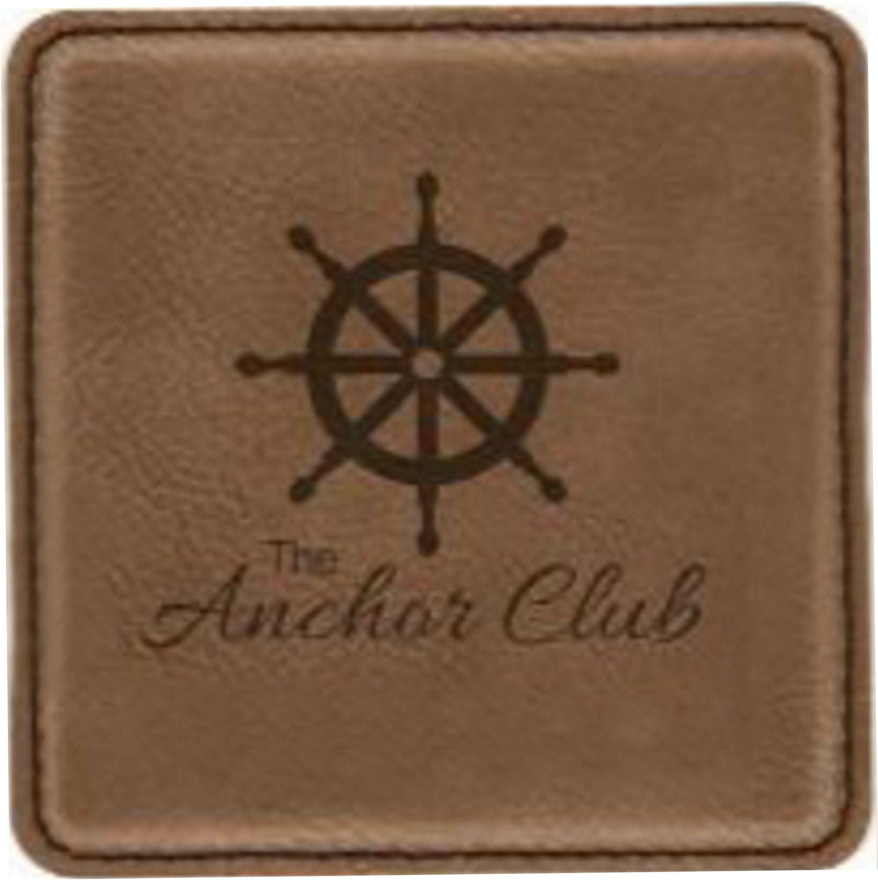 3 7/8 x 3 7/8 Dark Brown Square Leatherette Coaster Drink coaster sold by Ink Splash Promos™, LLC