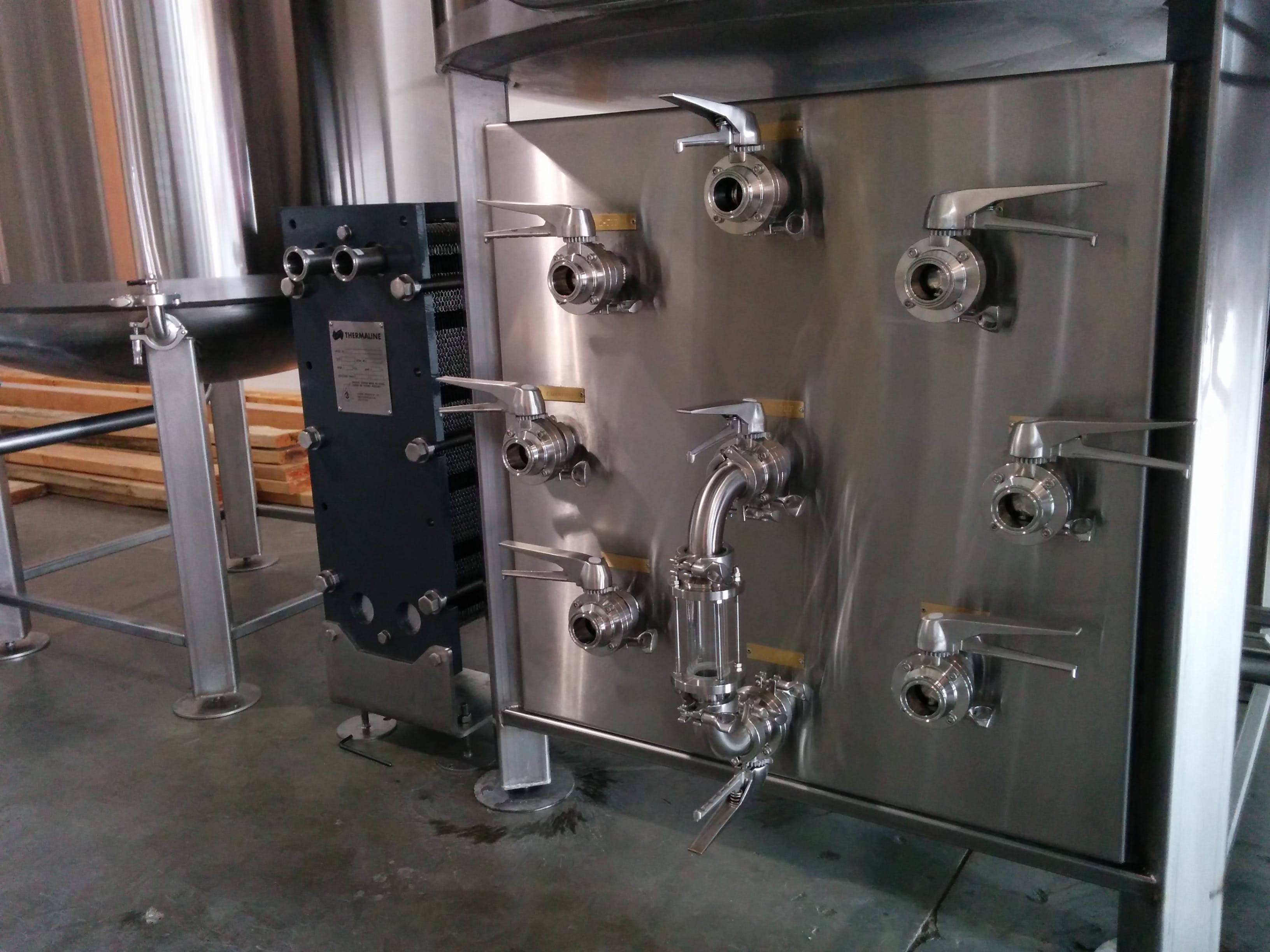 flow panel, manifold, process piping - 5-60 BBL Steam heated brewhouse - sold by Bridgetown Brew Systems llc.