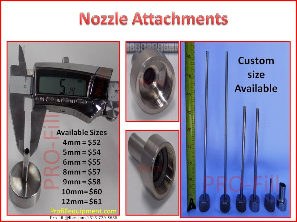 Nozzle Tips Sizes - ASP-500 Single Head Electric & Air Piston Filler /Fills Liquid, Oil, Gel - sold by Pro Fill Equipment