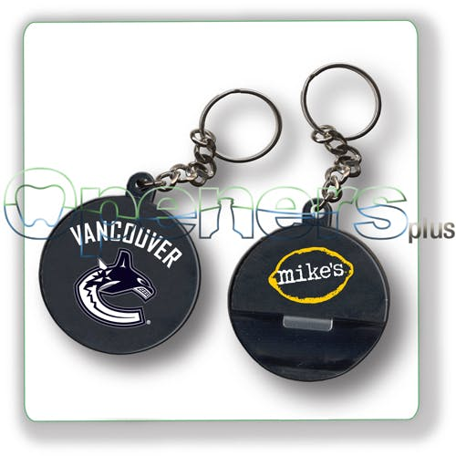 Hockey puck opener Bottle opener sold by Openers Plus
