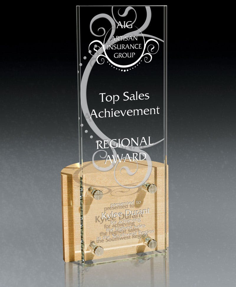 Vertigo European Starphire glass and wood award Award sold by Distrimatics, USA