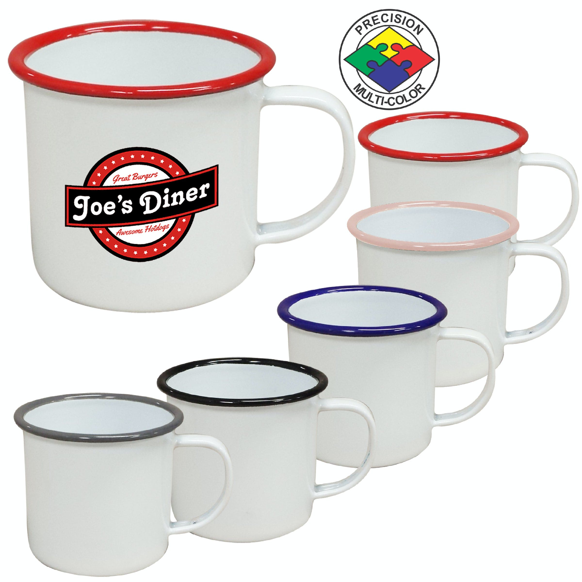 12oz White Enameled Steel Campfire Mugs with colored Rim