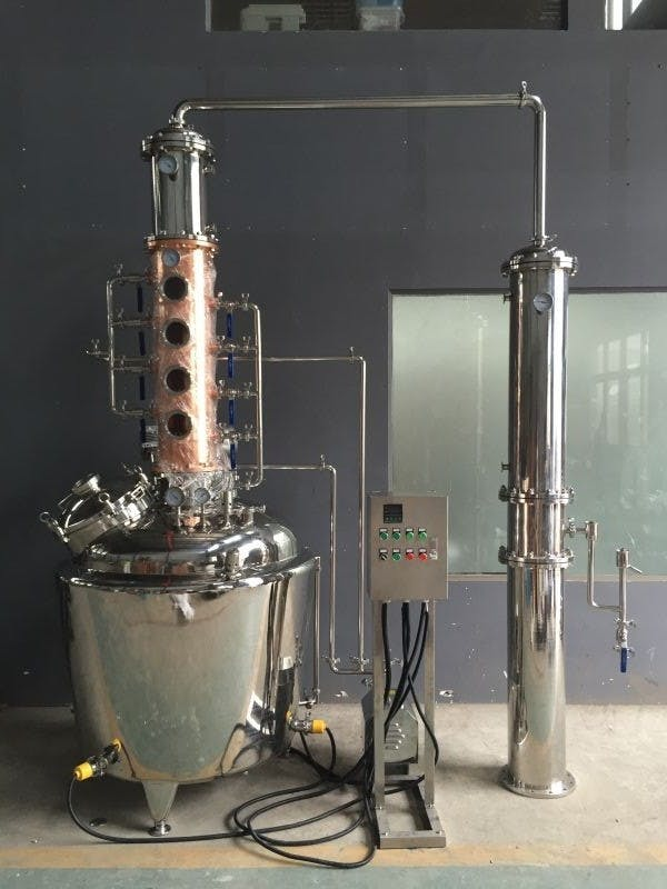 "400 L (105 gallon) Still with 10"" column and Gin Basket Distillation still sold by Olympic Distillers"