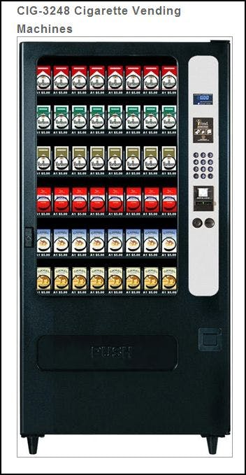 NEW CIG3248 - 48  Selection Cigarette Vending Machine -  32 Selection Snack Machine Coverted to 48 CIG Selections Vending machine sold by MEGAvending.com