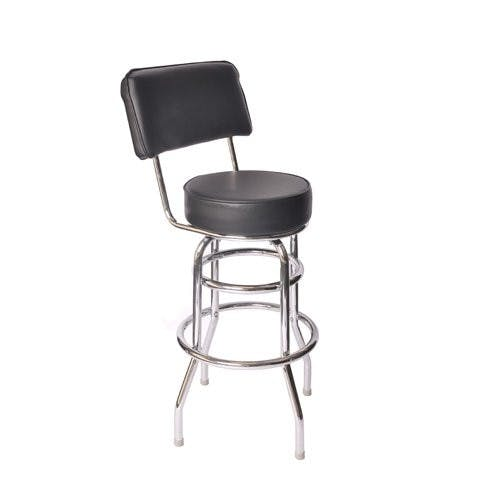 Jaxpro BSBLKB | Swivel Barstool w/ Black Vinyl Seat and Back Barstool sold by Mission Restaurant Supply