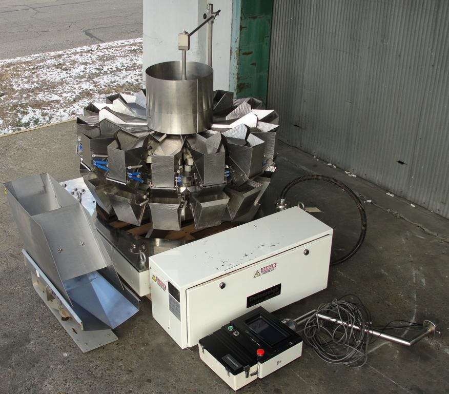 Yamato 14 head Dataweigh multihead weigher with dimpled stainless steel surfaces Form fill seal machine sold by Special Projects International
