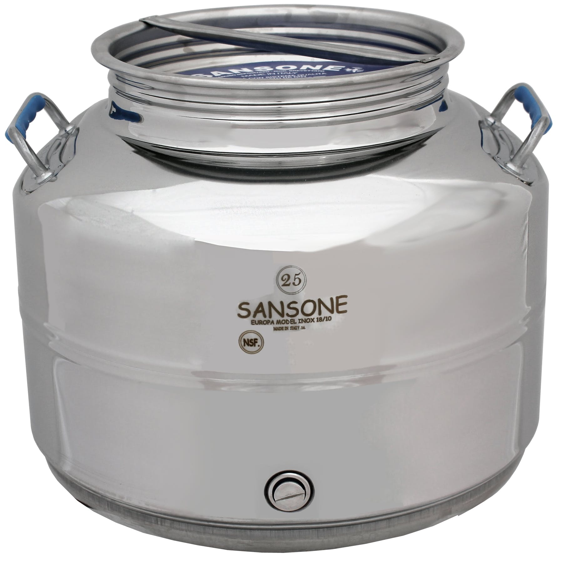 Italian Made Stainless Steel National Sanitary Foundation (NSF) Certified Fusti-25 Liters - sold by M5 Corporation