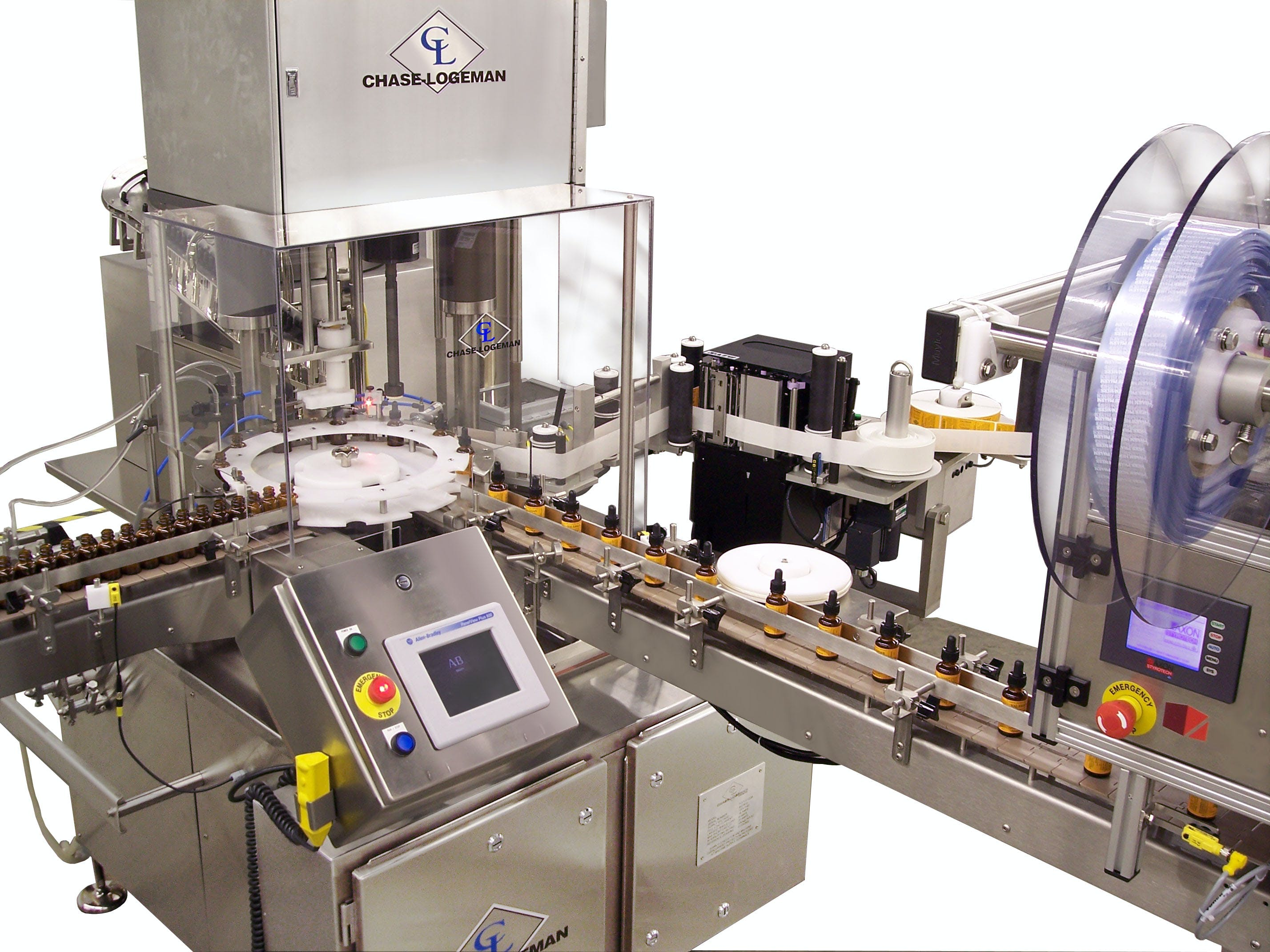 FCCL machine - Filling and Capping with pump sprayer or dropper tip - sold by Chase-Logeman Corporation