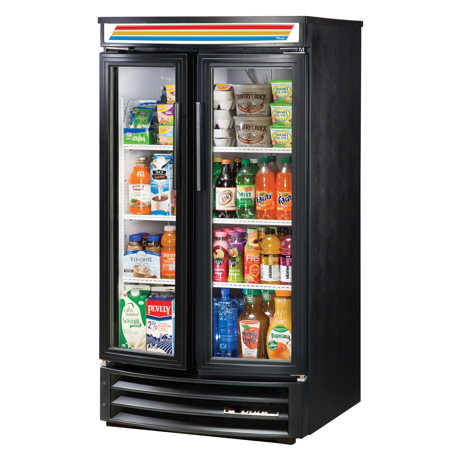 "True - GDM-14RF-LD 31"" Radius Front Glass Door Merchandiser Refrigerator LED Commercial refrigerator sold by Food Service Warehouse"