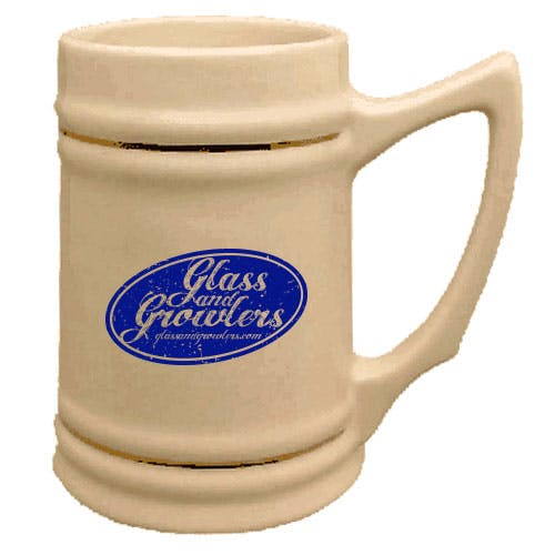 Natural Beer Stein with Gold Bands Customized Beer Mug sold by Glass and Growlers