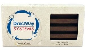 CoasterStone Dark Wood Stand Gift Set w/ 4 Square Coasters Drink coaster sold by Newton Screen Printing