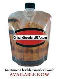 Grizzly Growler beverage pouch - sold by Grizzly Growlers USA