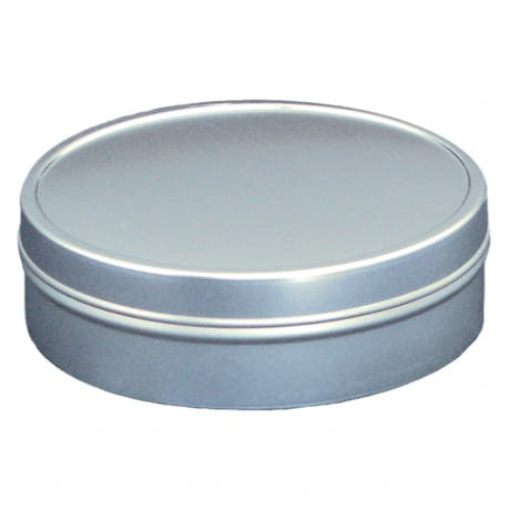 1 oz shallow metal tin   measures 1 15/16 x 11/16    packed 1200 per carton Metal tins sold by Inmark Packaging