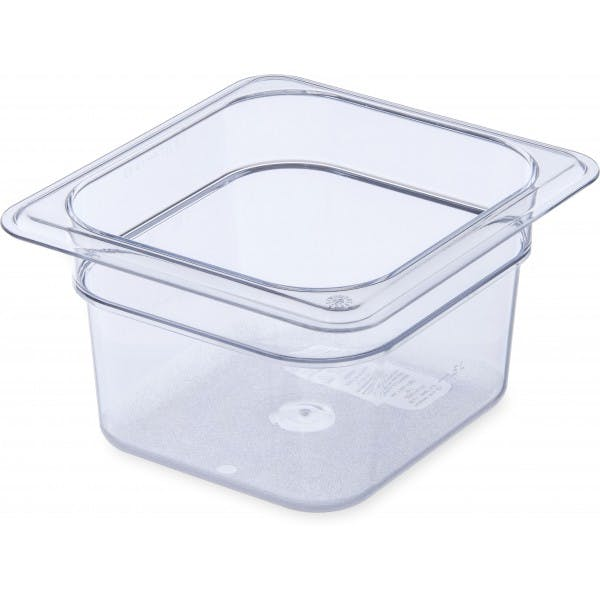 "4"" Sixth Size Clear Plastic Food Pan"