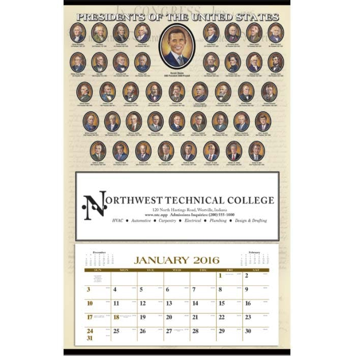 Norwood Promotional Products :: Product :: Presidents Hanger 12-Month Custom calendar sold by Distrimatics, USA