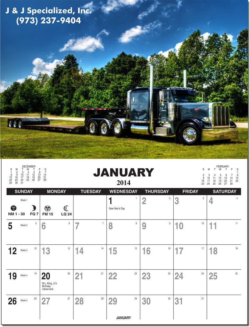 Re-positionable Wall Calendar W/ Custom Picture and Tear Off Pad Custom calendar sold by Ink Splash Promos, LLC