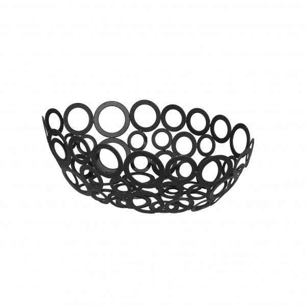 "9.25"" Oval Black Wrought Iron Ring Design Serving Basket"