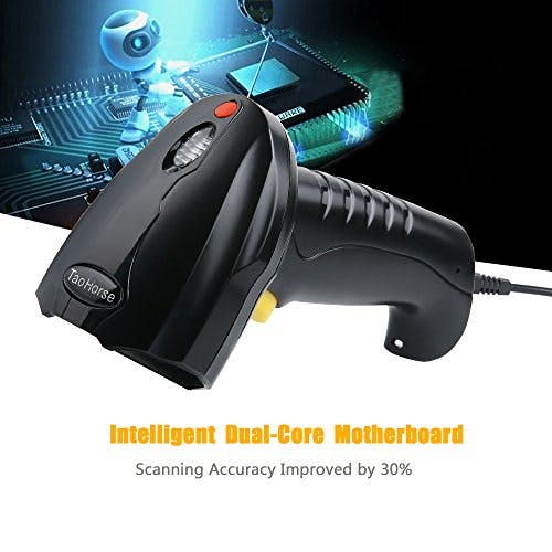 TaoHorse Handheld USB Barcode Scanner Wired Laser 1D Bar Code Reader with Automatic Continuous Scanning for POS PC Laptop Plug and Play - sold by Meilestone