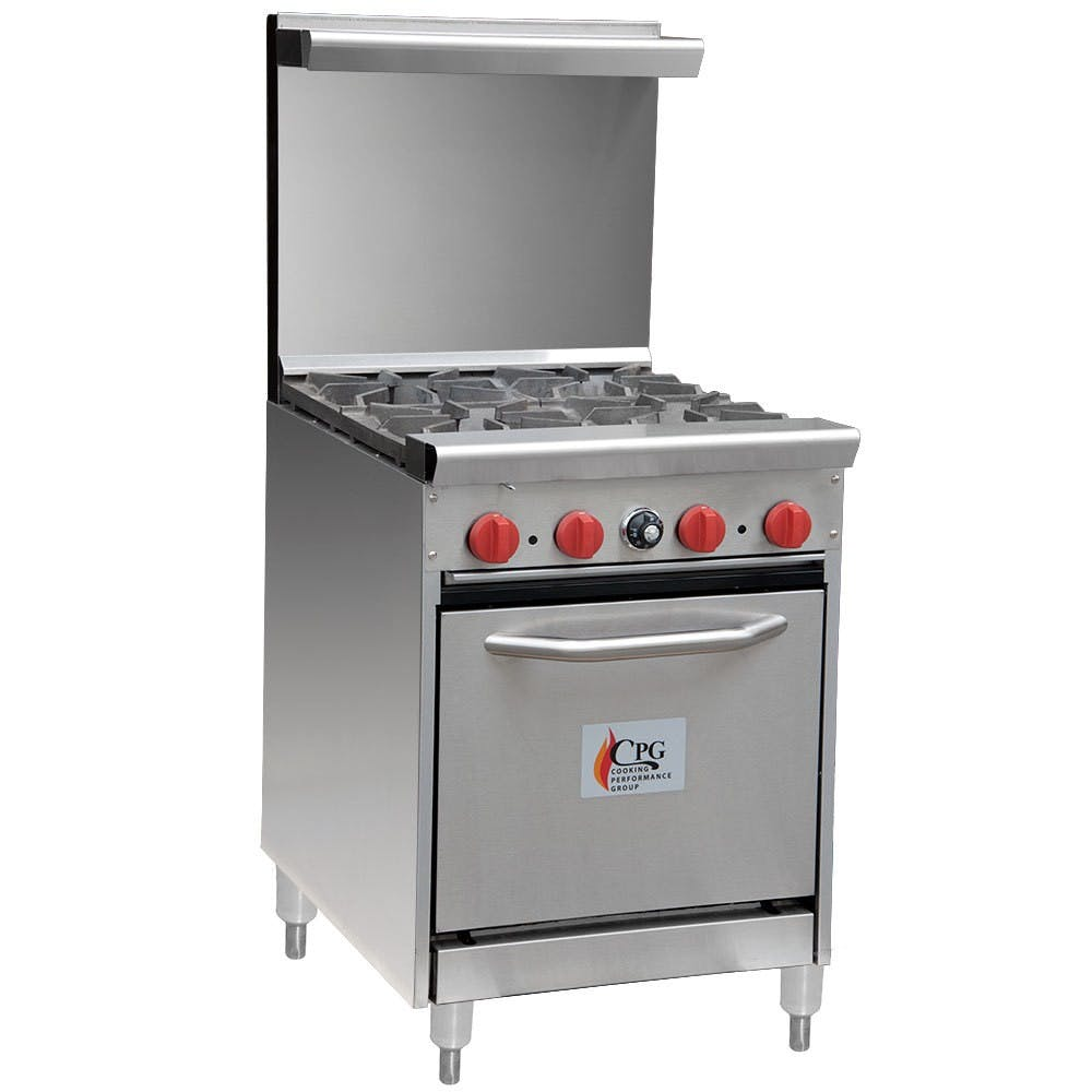 "Cooking Performance Group 24-CPGV-4B-S20 - 4 Burner Gas Range - 20"" Oven Commercial range sold by Elite Restaurant Equipment"