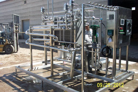 New HTST continious flow Pasteurizer with plate heat exchanger  Pasteurizer sold by Schier Company, Inc.
