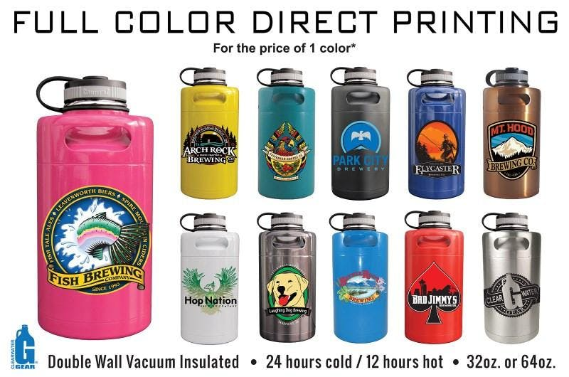 Full Color Direct Print Amber Glass Growlers - sold by Clearwater Gear