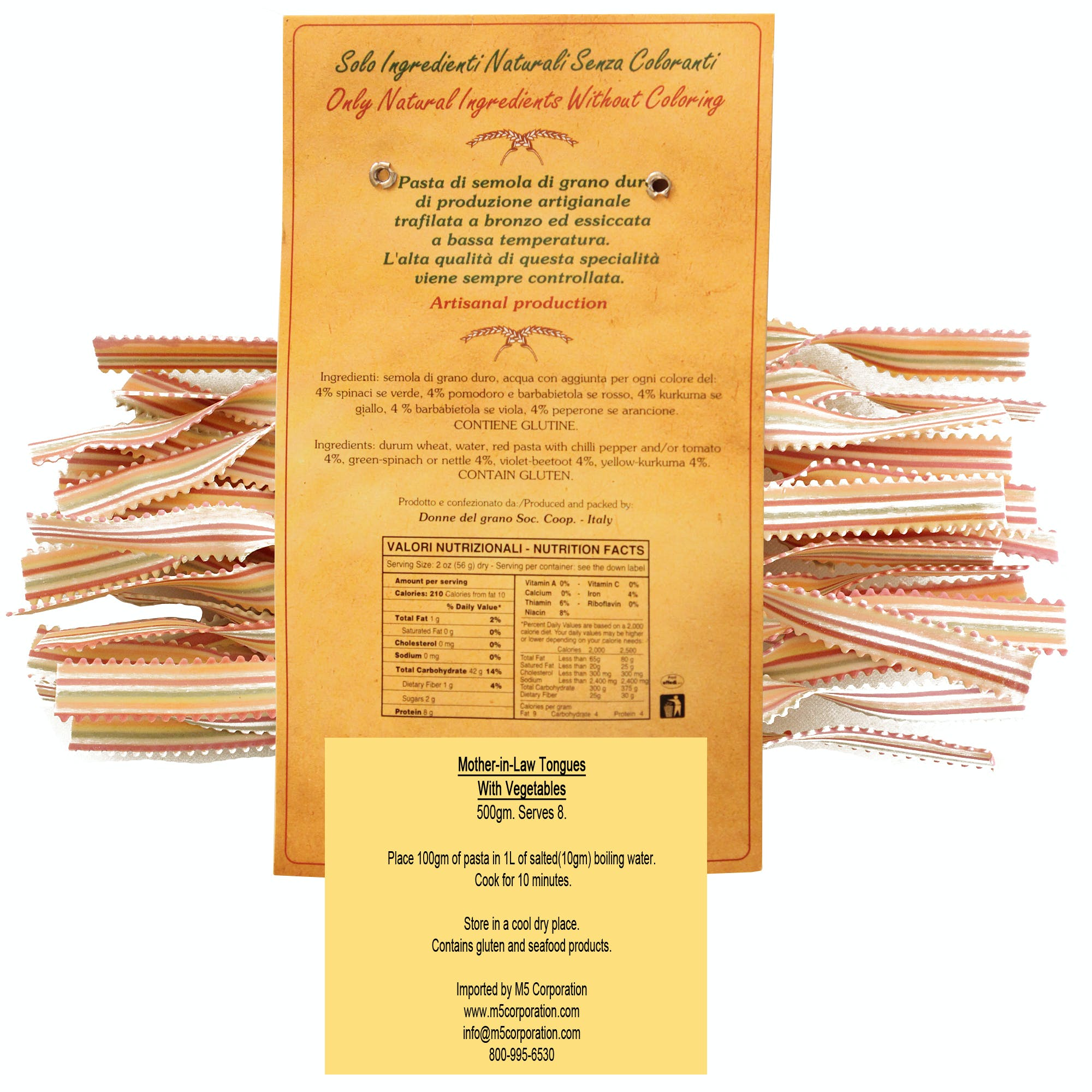 """Mother-In-Law Tongues """"Lingua di Suocera"""" Colored Pasta - sold by M5 Corporation"""