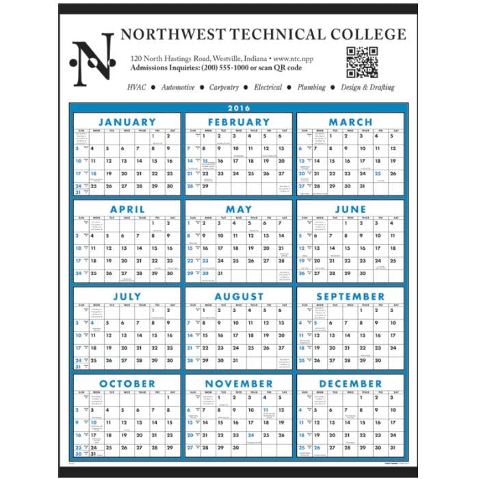 Norwood Promotional Products :: Product :: Span-A-Year Non-Laminated Custom calendar sold by Distrimatics, USA