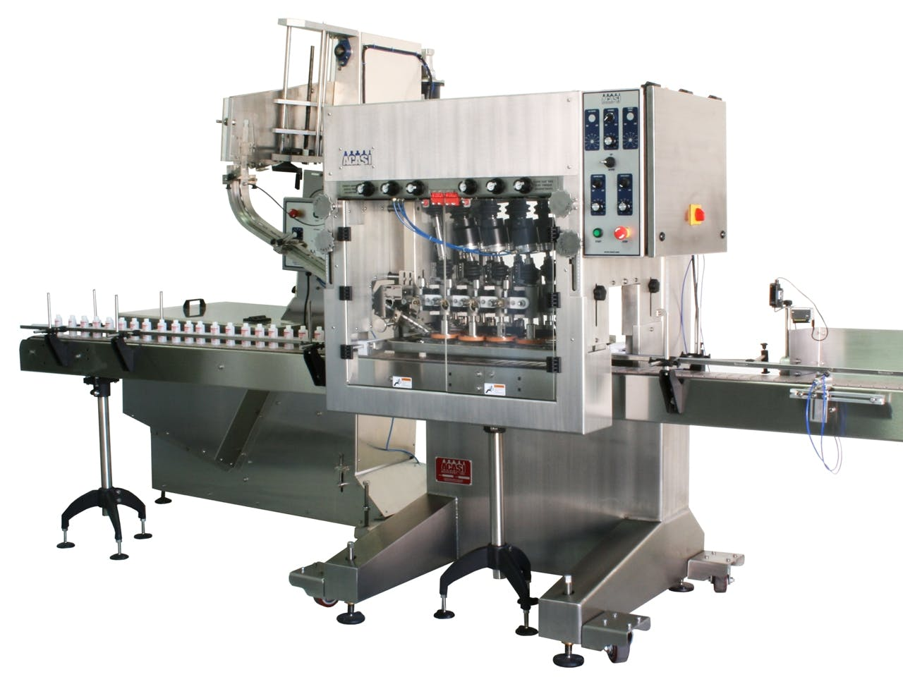 Automatic Inline Bottle Capping Machine Model CAI-X-WFall Bottle capper sold by ACASI Machinery