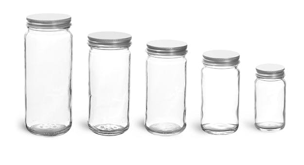 dec046faff7 Clear Glass Paragon Jars w  Lined Aluminum Caps - Glass Jars