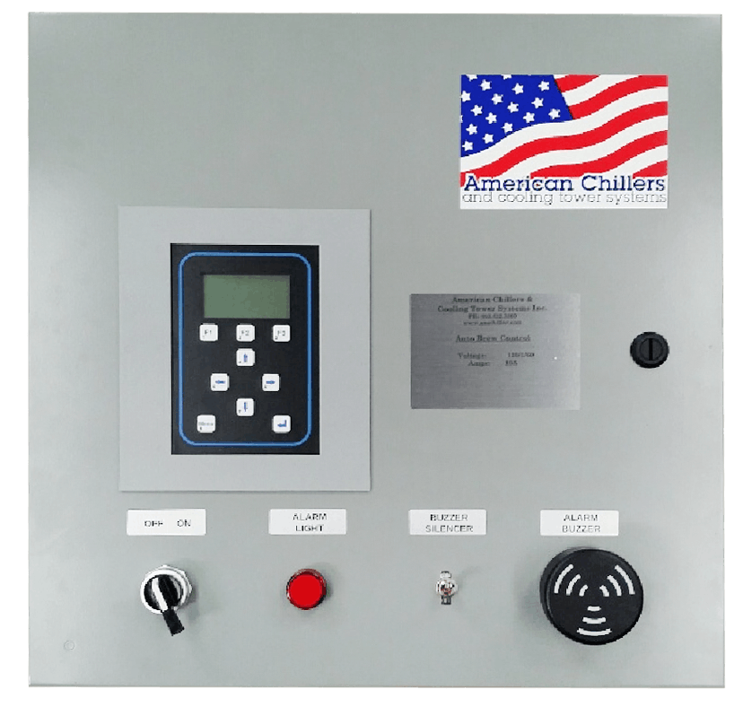 Auto Brewery Control Panel Connects to Computer Glycol chiller sold by American Chillers and Cooling Tower Systems