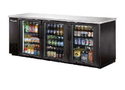 Migali C-BB72G Glass Door Back Bar Refrigerator (19.6 cu ft) Back bar cooler sold by pizzaovens.com