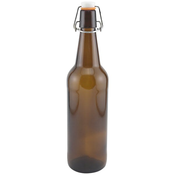 Flip Top Beer Bottles - Amber Glass - 500 mL (16.9 oz) - Case of 12 Beer bottle sold by R and B's Wine Supply