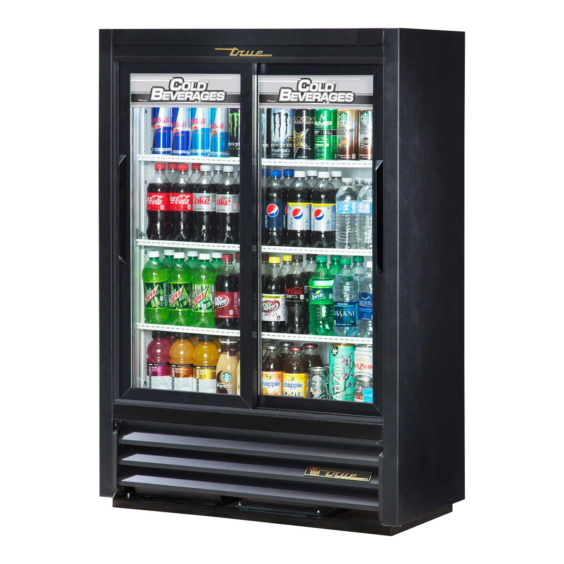 "True - GDM-33SSL-54-LD 36"" Convenience Store Glass Door Merchandiser Refrigerator LED Commercial refrigerator sold by Food Service Warehouse"