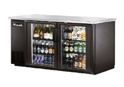 Migali C-BB60G Glass Door Back Bar Refrigerator (15.8 cu ft) Back bar cooler sold by pizzaovens.com