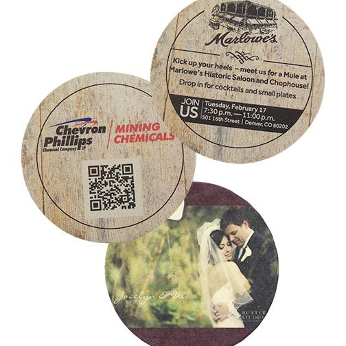 "Digital Printing, CoastersD-AS58-RD, 45 pt., Natural 3.5"" Round, Digital Coasters Drink coaster sold by Distrimatics, USA"