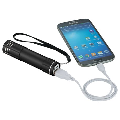 Flare Power Bank 2200 mAh Flashlight - 1226-09 - Leeds Promotional flashlight sold by Distrimatics, USA