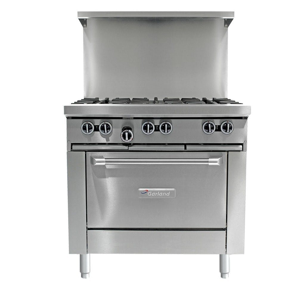 Garland G36-6C - 6 Burner Gas Range - (1) Convection Oven Commercial range sold by Elite Restaurant Equipment