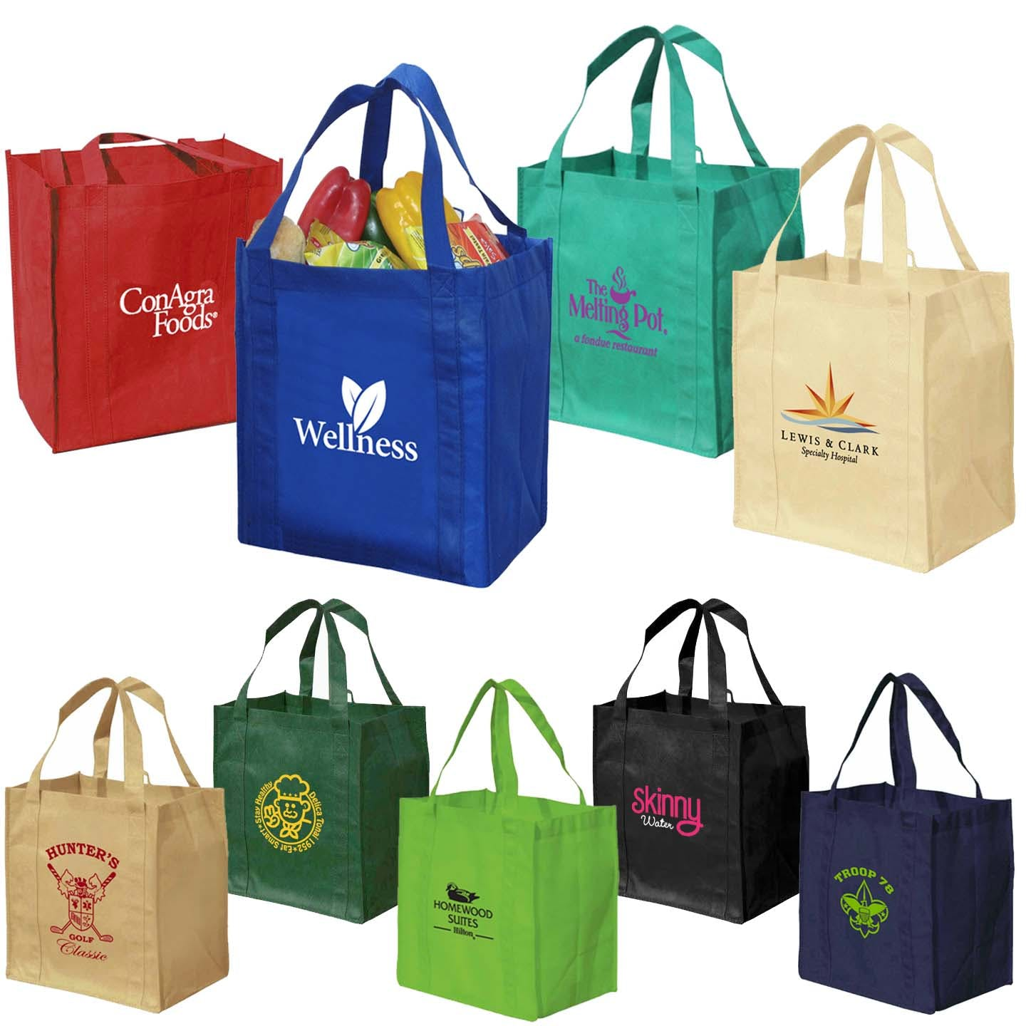 Reusable Solid Color Grocery Tote Bag (Item # AFGOT-GFVLK) Recycled and Eco Friendly Promotional Item sold by InkEasy