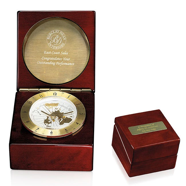 Rosewood Captain's Award Clock by Jaffa® Award sold by Distrimatics, USA