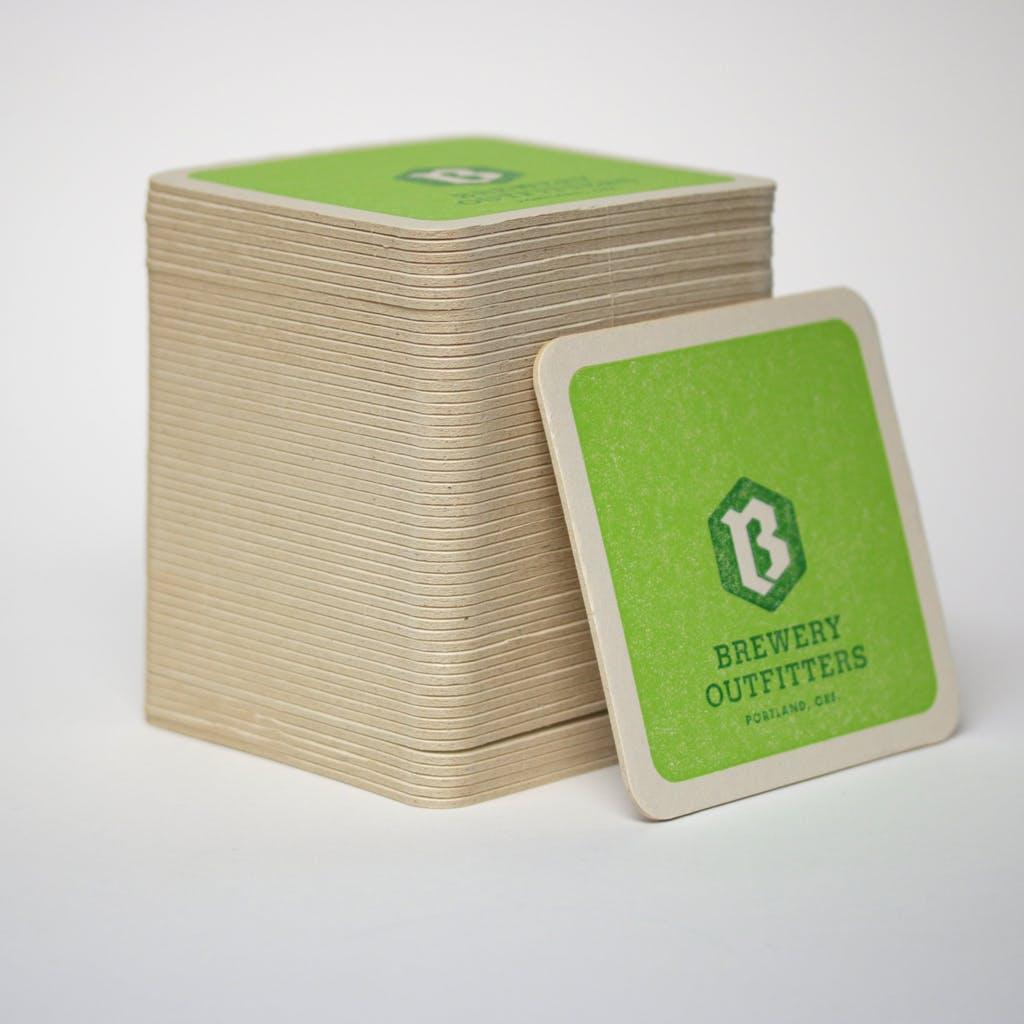 XL heavy weight coasters - natural - 10,000 pcs MOQ.  Drink coaster sold by Brewery Outfitters